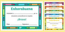 Spanish End of Year Enthusiasm Award Certificate Spanish / Español
