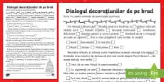 Dialogul decorațiunilor de pe brad Scrie semnele de punctuație