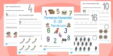 Number Formation Workbook Pirates Romanian