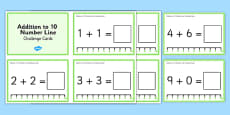 Addition to 10 With a Number Line Challenge Cards