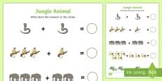 Jungle Animal Themed Addition Sheet