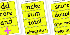 Reception Maths Numeracy Vocabulary Cards for Visually Impaired