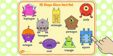 2D Shape Aliens Word Mat