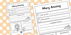 Mary Anning Significant Individual Writing Frame