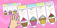 Cupcake Editable Bookmarks
