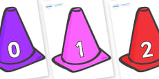 Numbers 0-50 on Cones