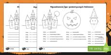 Karta Wyszukaj figur geometrycznych Halloween