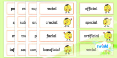 PlanIt Spelling Year 6 Term 2B Word Cards