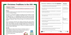 Christmas Traditions in the USA Differentiated Reading Comprehension Activity