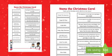 Christmas Carols Activity Sheet