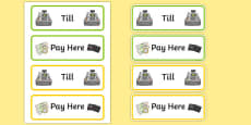 Role Play Till and Pay Here Labels