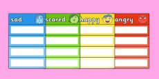 Emotions Vocabulary Cards