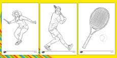 The Olympics Tennis Colouring Sheets