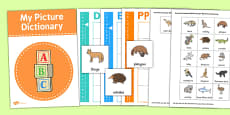 Australian Animals Picture Dictionary Word Card Set