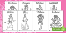 Hindu Gods Colouring Sheets