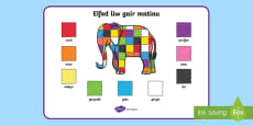 Colour Word Mat to Support Teaching on Elmer Cymraeg