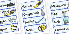 Deep Sea Explorer Equipment Labels (Under the Sea)