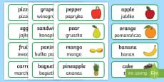 * NEW * Food Topic Word Cards English/Polish