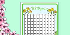 Spring Themed 100 Number Square