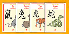 Chinese Year Of The Zodiac Animal Display Posters Romanian Translation