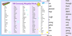 Commonly Misspelled Words Mat