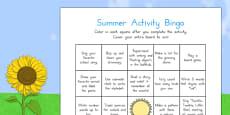 Summer Break Activity Bingo
