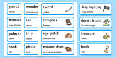 Pirate Word Cards Polish Translation