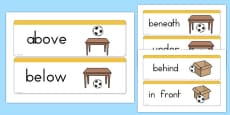 Positional Vocabulary Cards USA