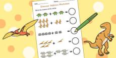Dinosaur Themed Addition Sheet