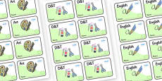 Green Themed Editable Book Labels