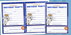 Space Themed Birthday Party Invitations