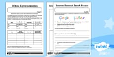 PlanIt - Computing Year 3 - Internet Research and Communication Home Learning Tasks