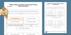 1999 Curriculum Senior Infants Maths Shape and Space Assessment Group Colouring Sheet