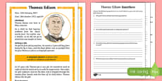 Thomas Edison Differentiated Reading Comprehension Activity