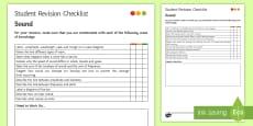 * NEW * Sound Student Revision Checklist