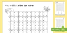 Mother's Day Differentiated Word Search English/French