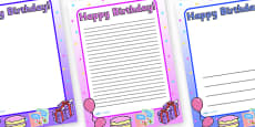 Happy Birthday A4 Page Borders Images