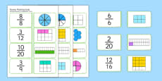 Fractions Matching Cards Romanian Translation