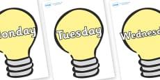 Days of the Week on Lightbulbs (Plain)