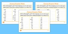 Handwriting Strip With Year 2 Common Exception Words Practice