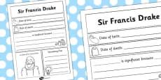 Sir Francis Drake Significant Individual Writing Frame