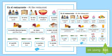 * NEW * At The Restaurant Useful Vocabulary Word Mat -Spanish
