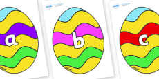 Phase 2 Phonemes on Easter Eggs (Striped)