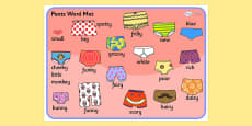 Story Word Mat to Support Teaching on Pants