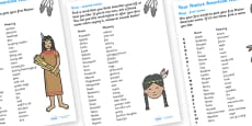 Your Native American Name Reference Sheet