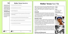 Mother Teresa Differentiated Reading Comprehension Activity