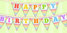Rainbow Themed Happy Birthday Bunting