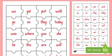 Red Reading Sight Words Jigsaw Puzzle