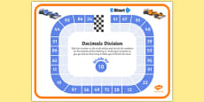 Dividing by 10 Decimals Race Worksheet