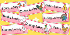 Chicken Licken Word Cards